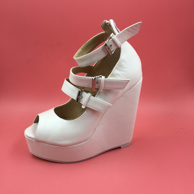 (69.00$)  Watch here - http://aipt2.worlditems.win/all/product.php?id=32656134995 - White Wedge Sandals For Women PU Soft Leather Women's Wedge Heel Peep Toe Sandals With 3 Buckle Thick Platform High Heel