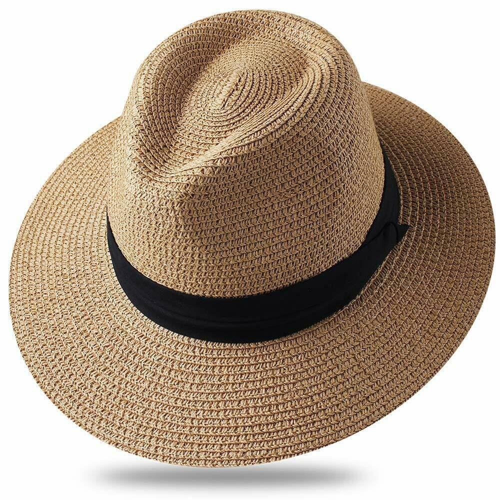 18c733e8 Women Wide Brim Straw Roll up Hat Fedora Beach Sun Hat UPF50+ Packable Straw  .