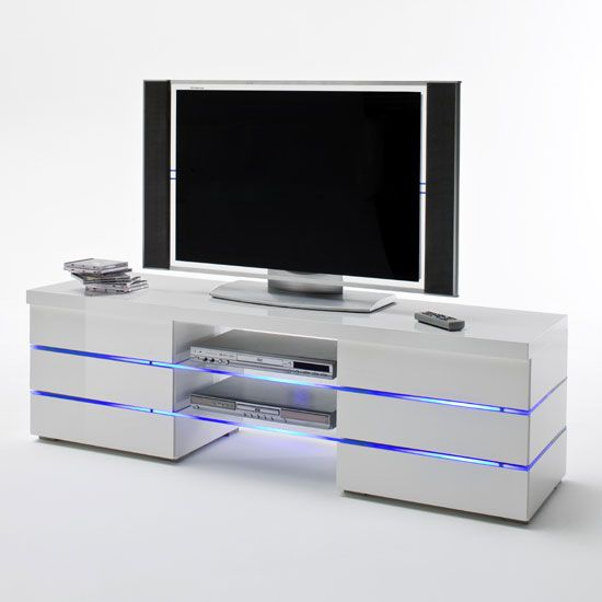 Svenja Media Tv Stand In High Gloss White With Led Multi Lights High Gloss Tv Stands High Gloss White White Tv Stands Living Room Tv Unit Designs