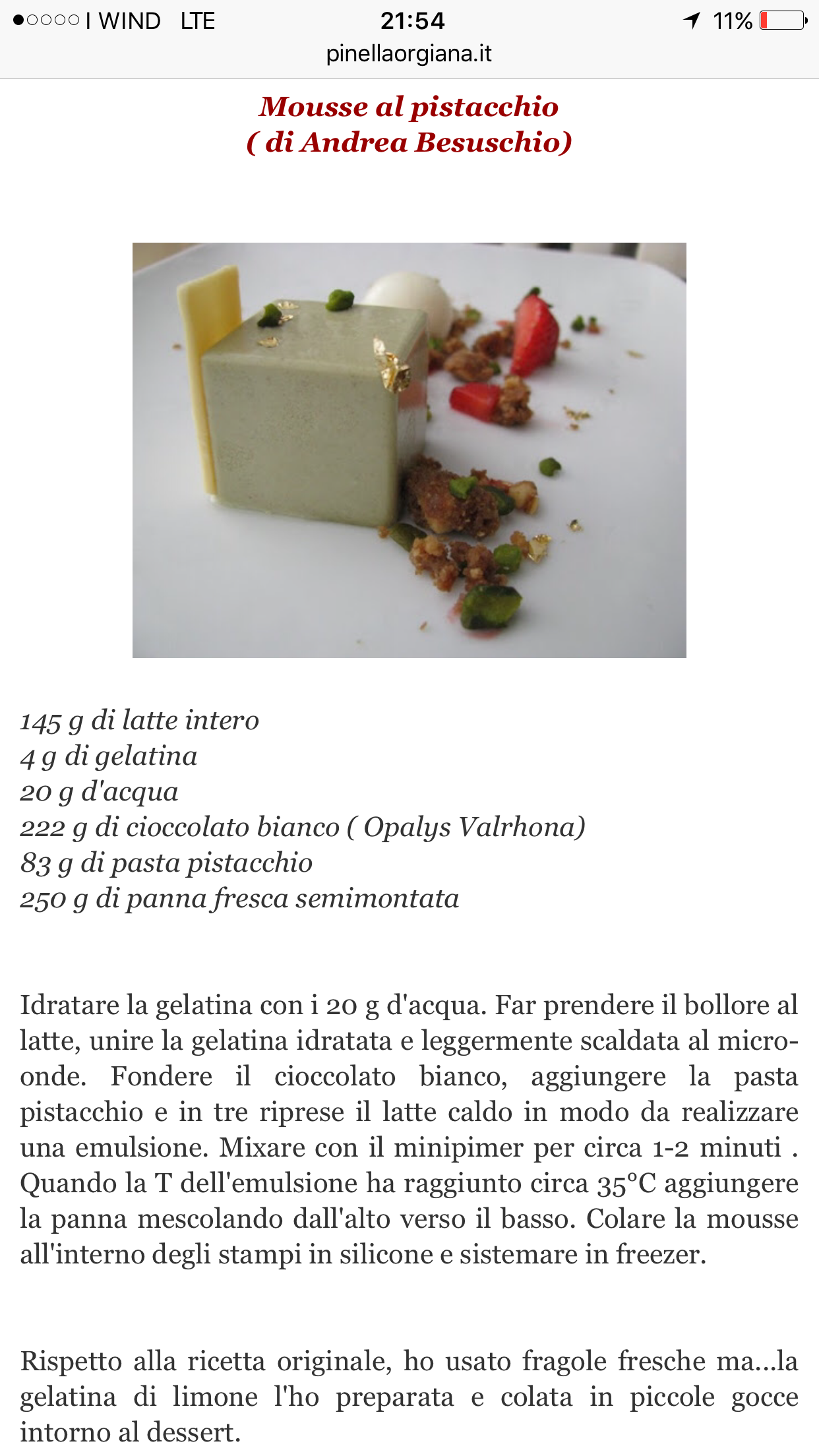 cheap for discount 37d15 363eb Mousse al pistacchio Andrea Besuschio | Dolcezze al ...
