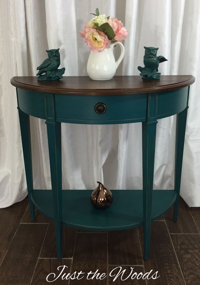 Teal Console Table With Rich Stain Top By Just The Woods Teal