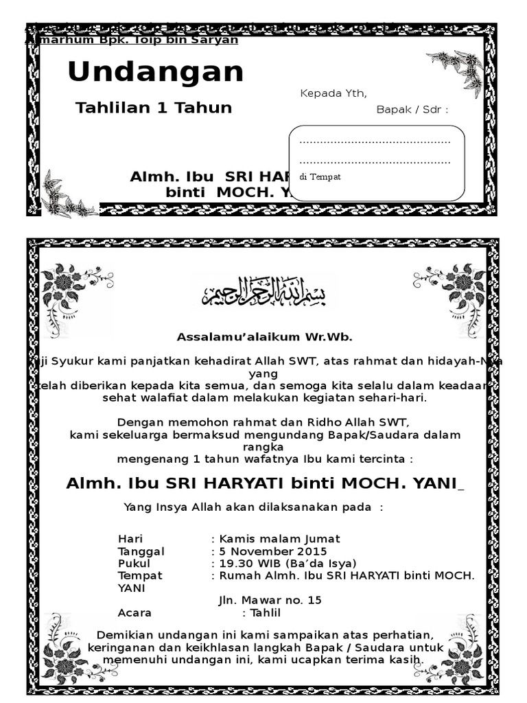 28+ Surat undangan 1000 hari orang meninggal info