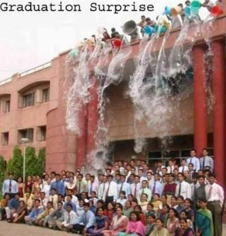 A Graduation Surprise  A graduation prank at a University in India, in 2008.