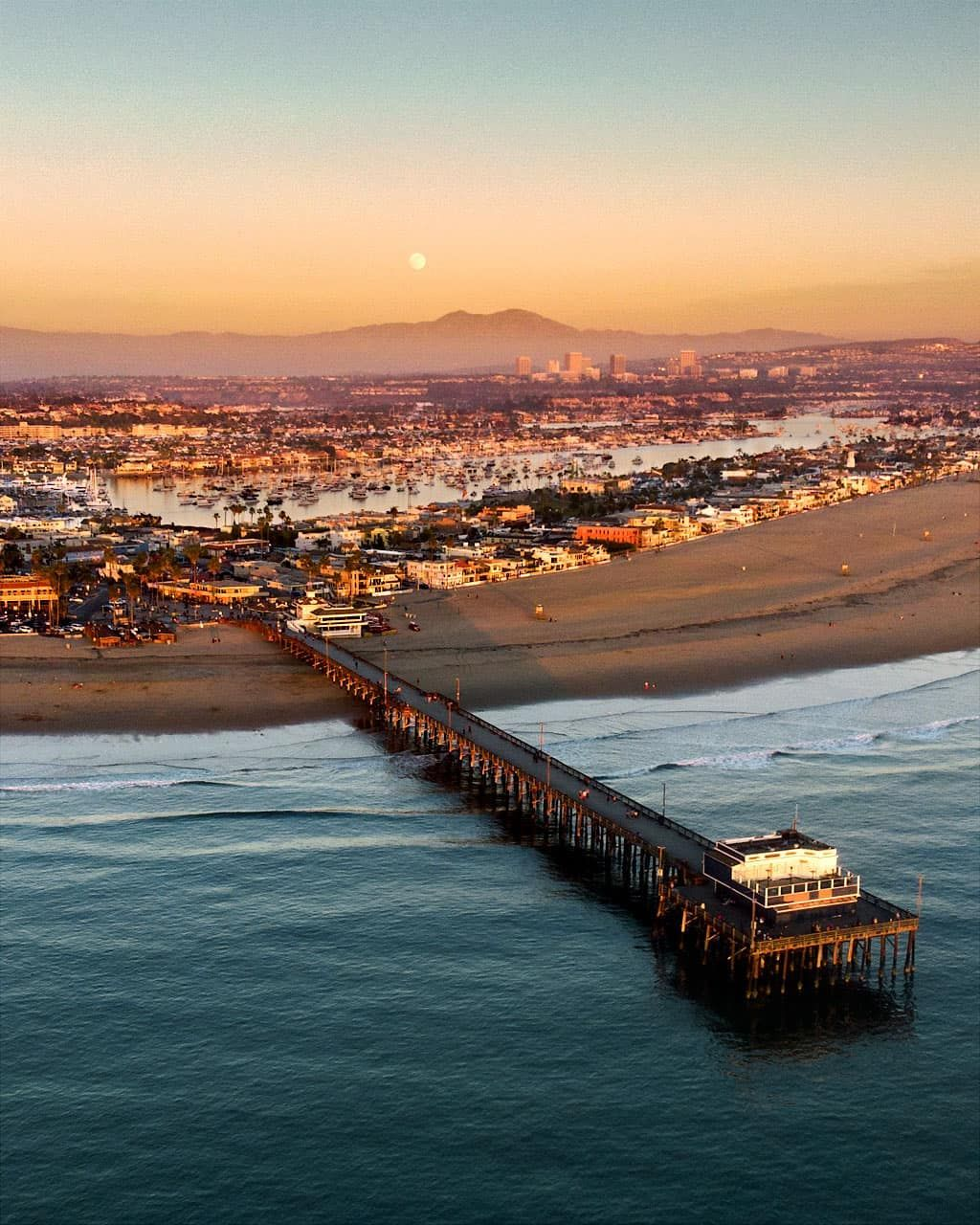 Balboa Peninsula And Newport Beach Pier With Full Moon