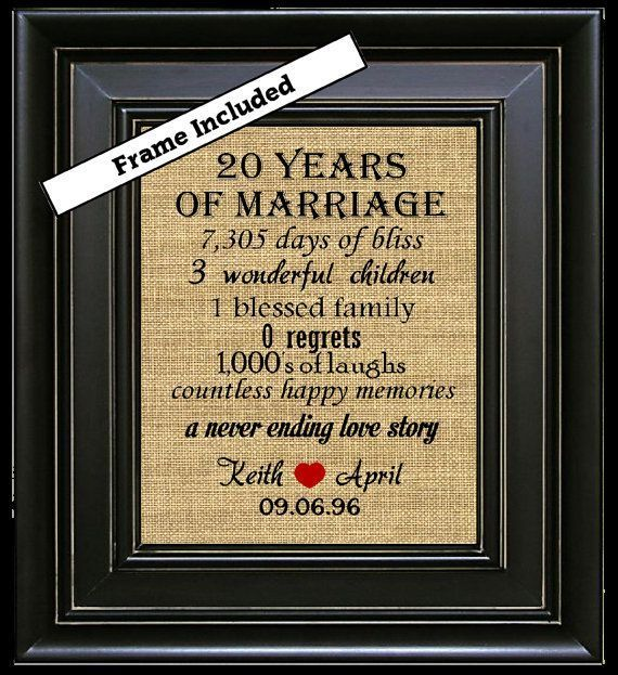 For Sale is an 810 20th Anniversary Personalized Framed Burlap Wall Hanging. The #20thanniversarywedding