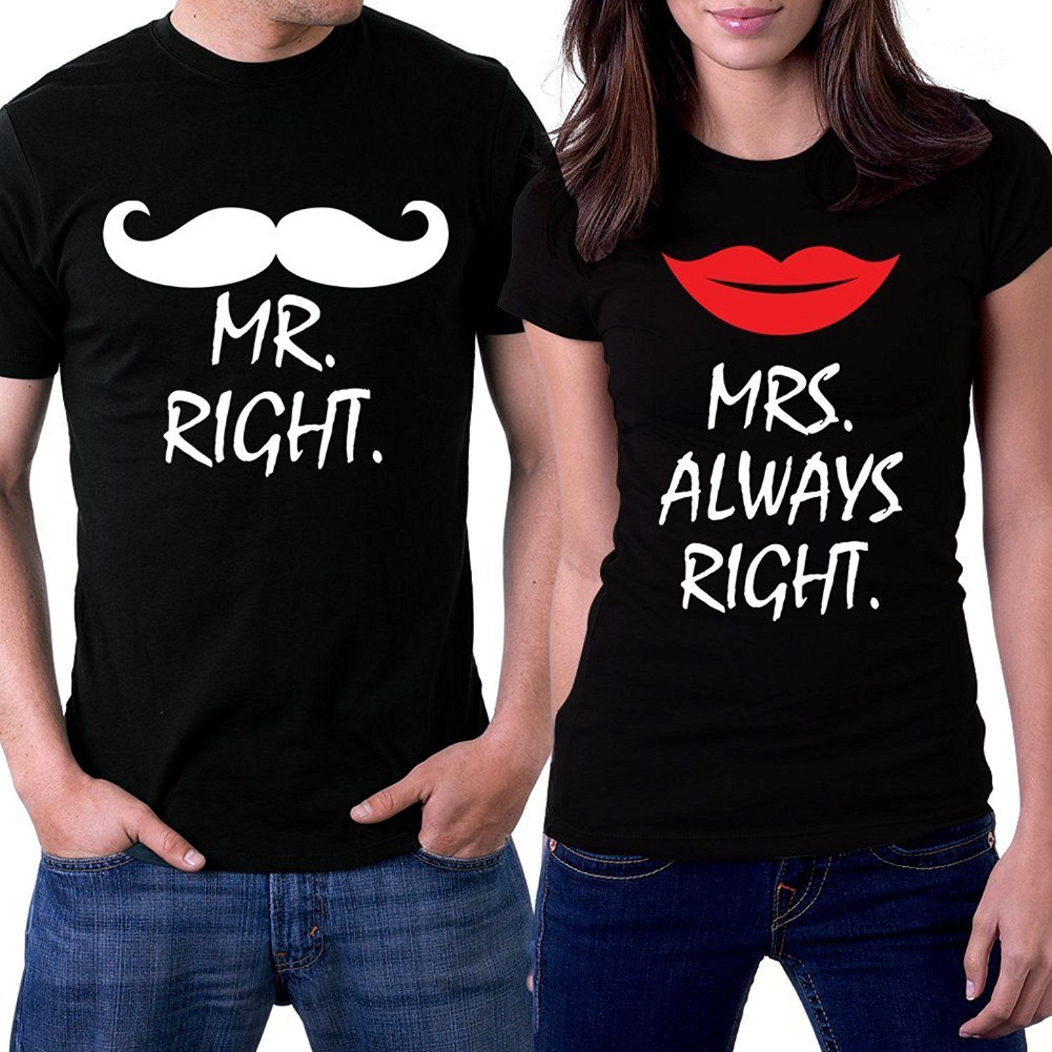 Mr Right - Mrs Always Right (front) and Together Since (back) Funny Couples Shirt Set Family Engagement Married Wedding Gift TxqapgWc9