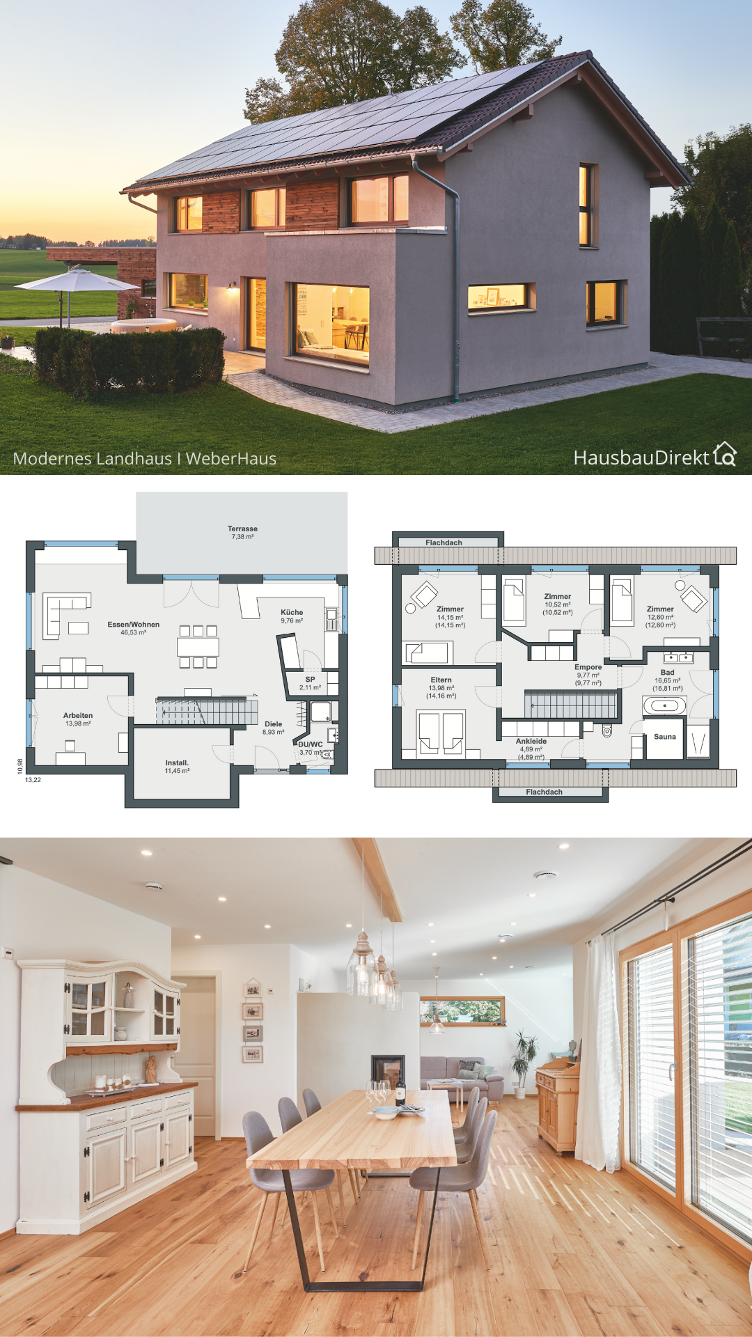 Modernes Einfamilienhaus mit Satteldach im Landhausstil bauen Haus Grundriss gerade Treppe