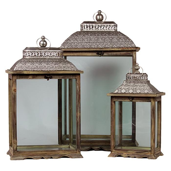 Wooden/Metal Lantern in Brown - Set of 3 | Nebraska Furniture Mart