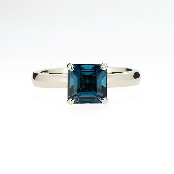 Angara Natural Swiss Blue Topaz and Diamond Ring in Yellow Gold