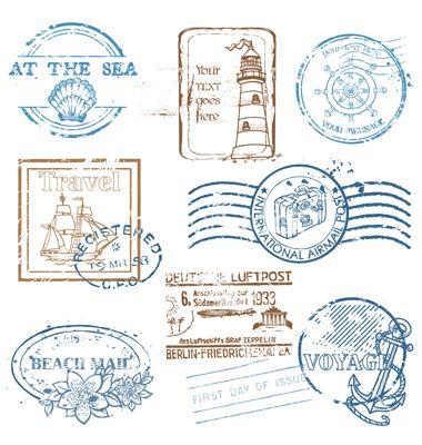 Set Of Retro Sea Stamps Vector Image On Vectorstock Travel Stamp Stamp Design Vintage Stamps