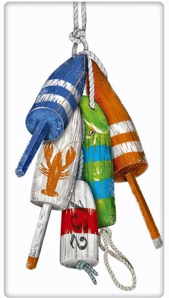 Nautical Buoys 100% Cotton Flour Sack Dish Towel Tea Towel