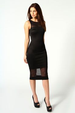 607edf128fdc Nikki Mesh Insert Midi Dress at boohoo.com   Clothing/Shoes ...