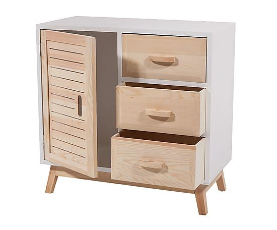 Mueble auxiliar en madera de pino y dm i blanco y for Muebles pino natural