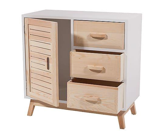 Mueble auxiliar en madera de pino y DM I - blanco y natural ...
