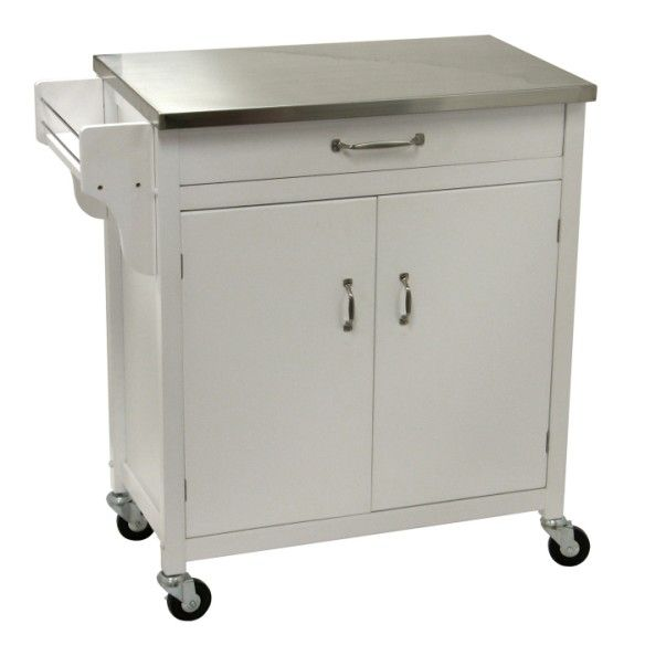 Belham Living White Mid Size Kitchen Island With Stainless: Sketch Of Kitchen Carts On Wheels: Movable Meal