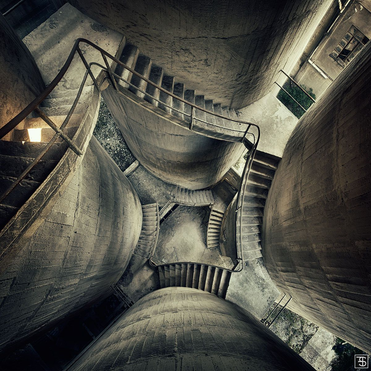 Staircase Inside An Old Factory In Italy Industrial