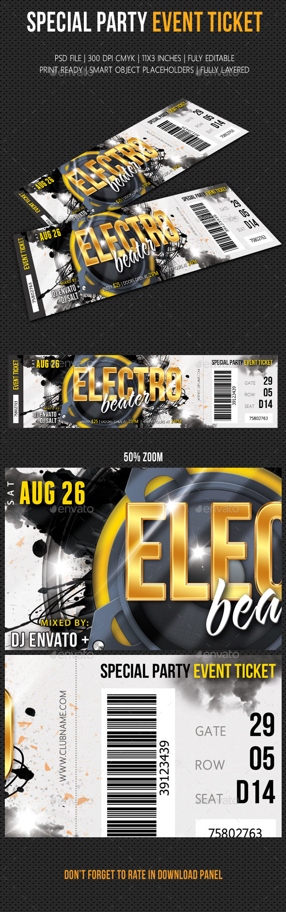 Special Party Event Ticket V03 Party Event Ticket Design Event Ticket Template