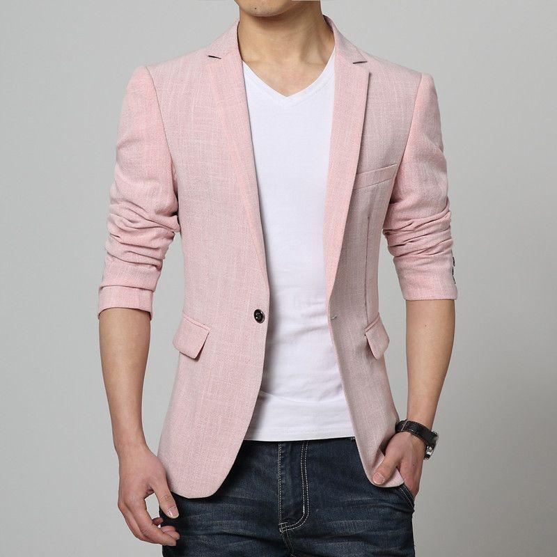 Click to Buy << Men Pink Linen Formal Blazers Men Long sleeve Slim. >>