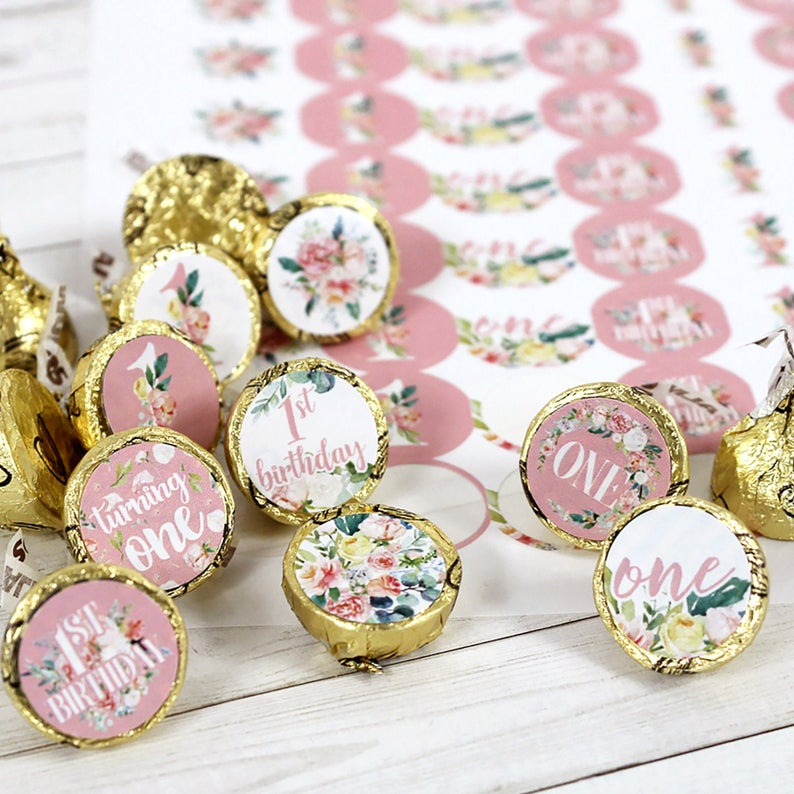 Floral 1st Birthday Hershey Kiss Stickers 180ct Watercolor Etsy 1st Birthday Party Favors First Birthday Party Favor First Birthday Party Decorations
