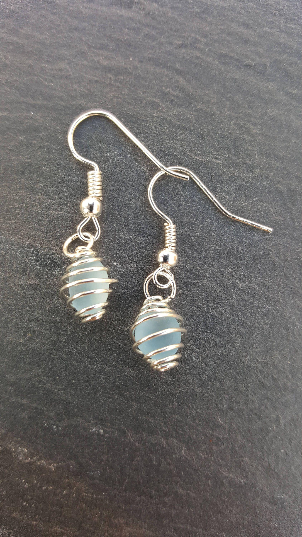 Blue Seaglass Earrings. Blue Earrings. Blue Sea Glass Earrings ...