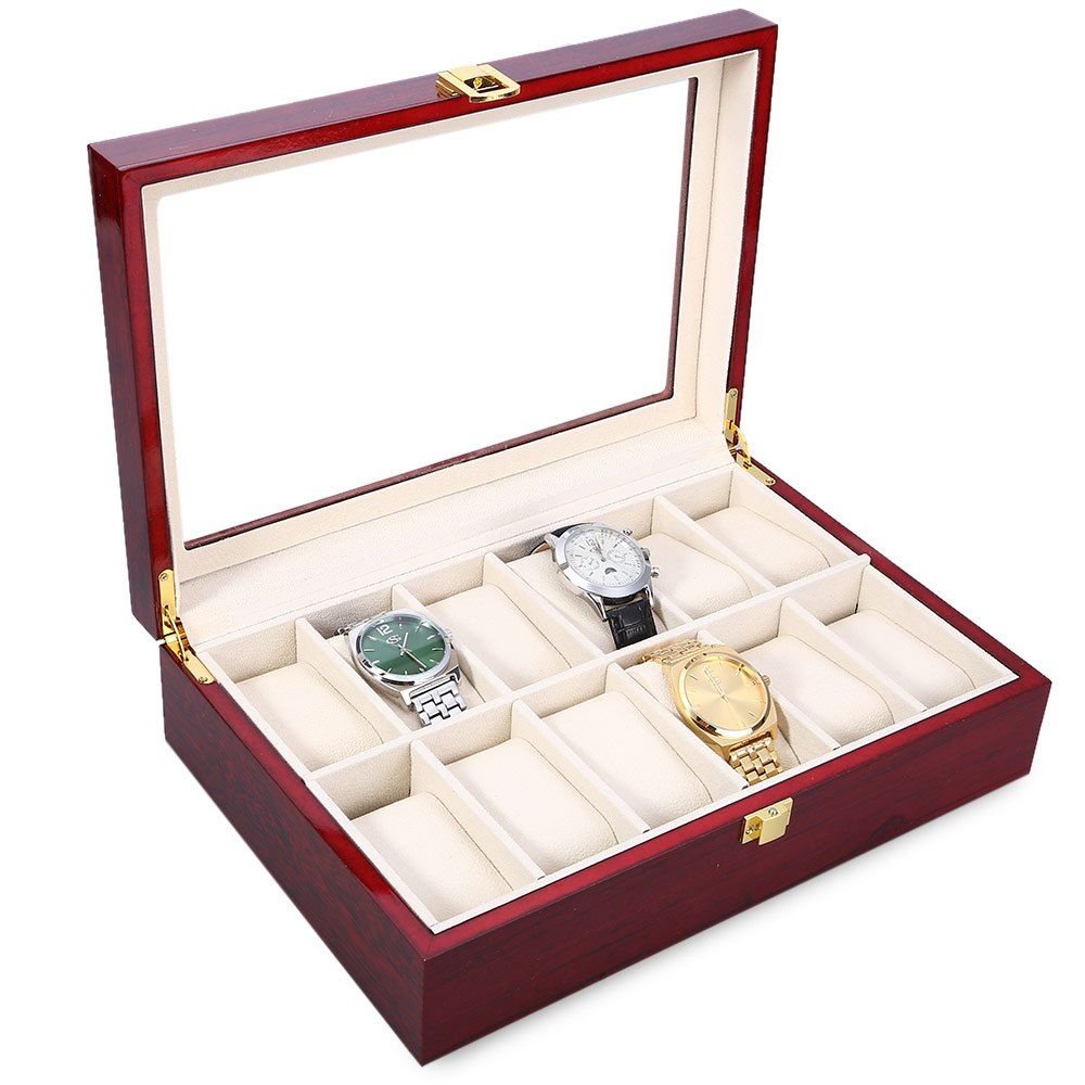 compare prices high quality 12 slots elegant wood watch display case