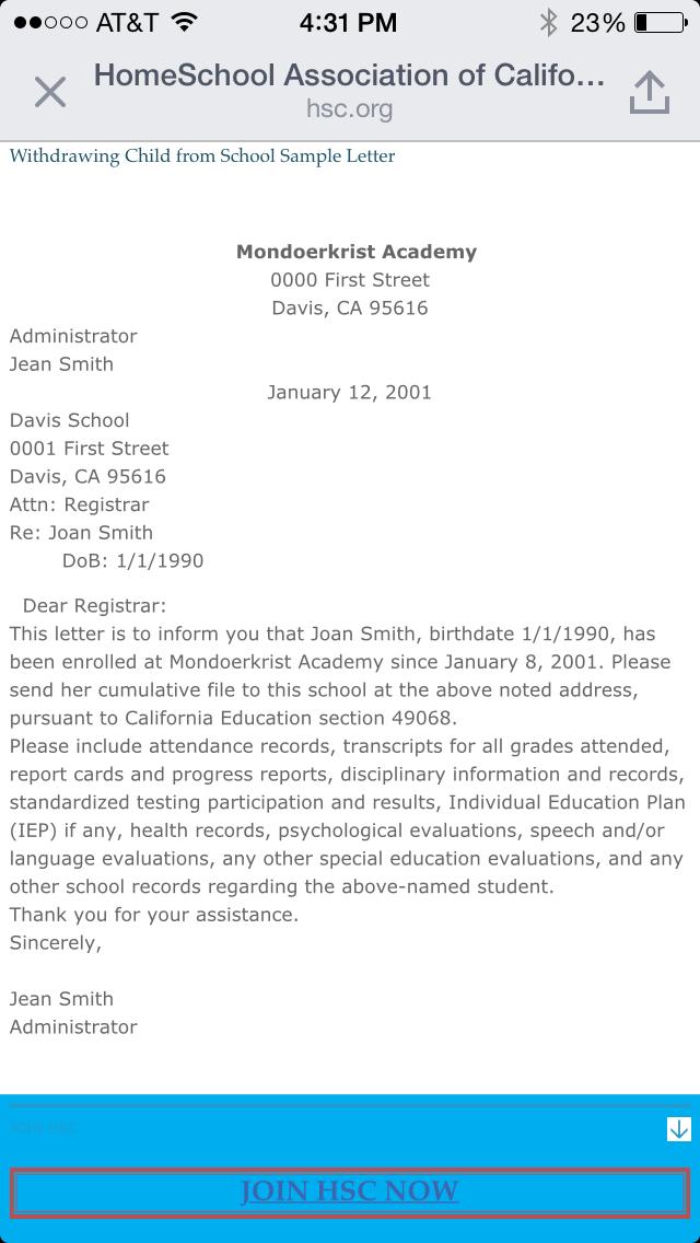 School Withdrawl Letter
