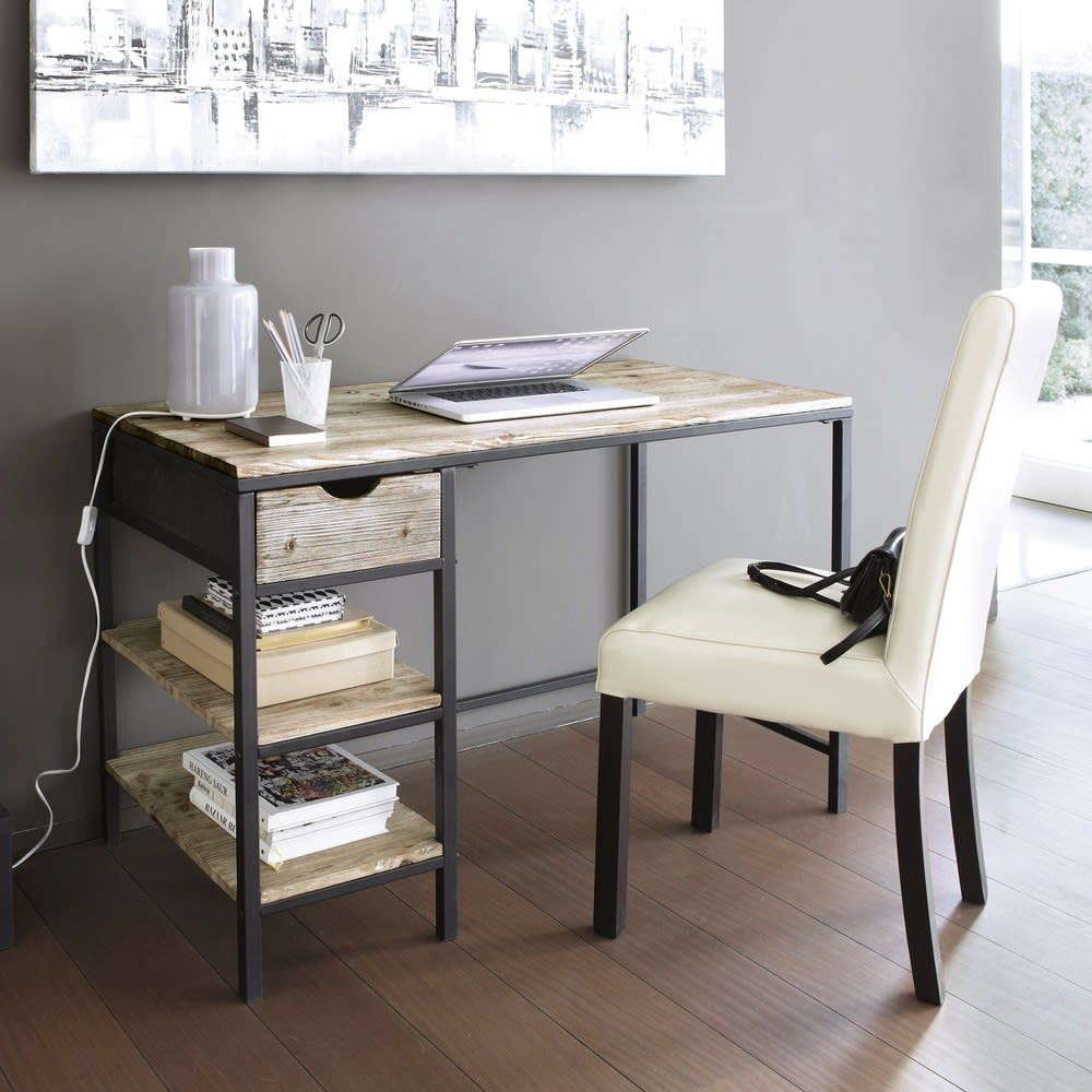 Solid Fir and Metal Industrial Desk in Whitewash Finish in ...