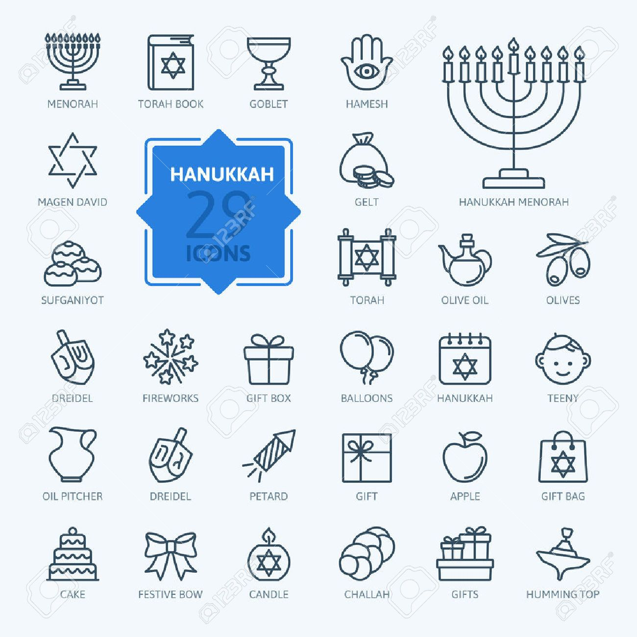 Symbols of hannukah images symbol and sign ideas 52871107 outline icon collection symbols of hanukkah stock vector outline icon collection symbols of hanukkah buy biocorpaavc