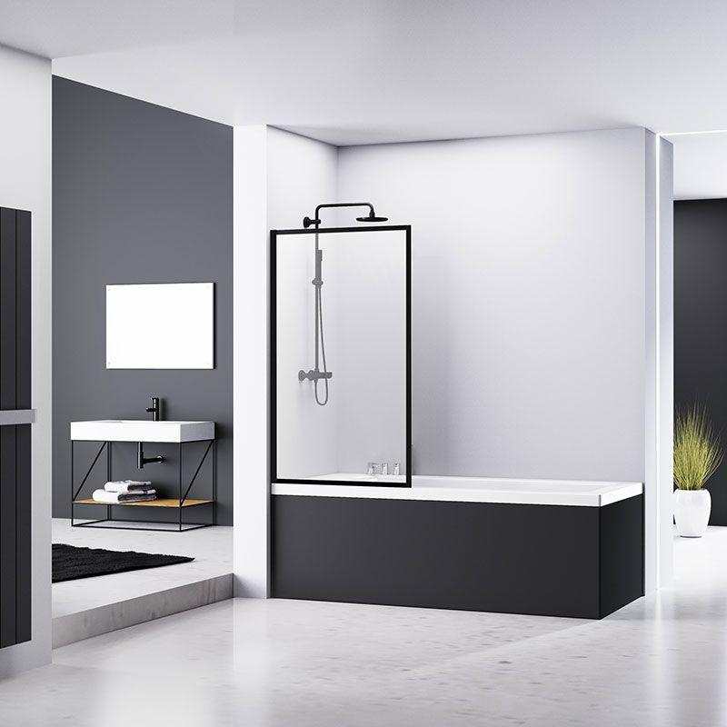 Pare Baignoire Fixe 70x140 Ou 80x140 Cm Profile Noir Indus Bathroom Baignoire Douche Paroi Bathroomideas B Idee Salle De Bain Baignoire Paroi Baignoire