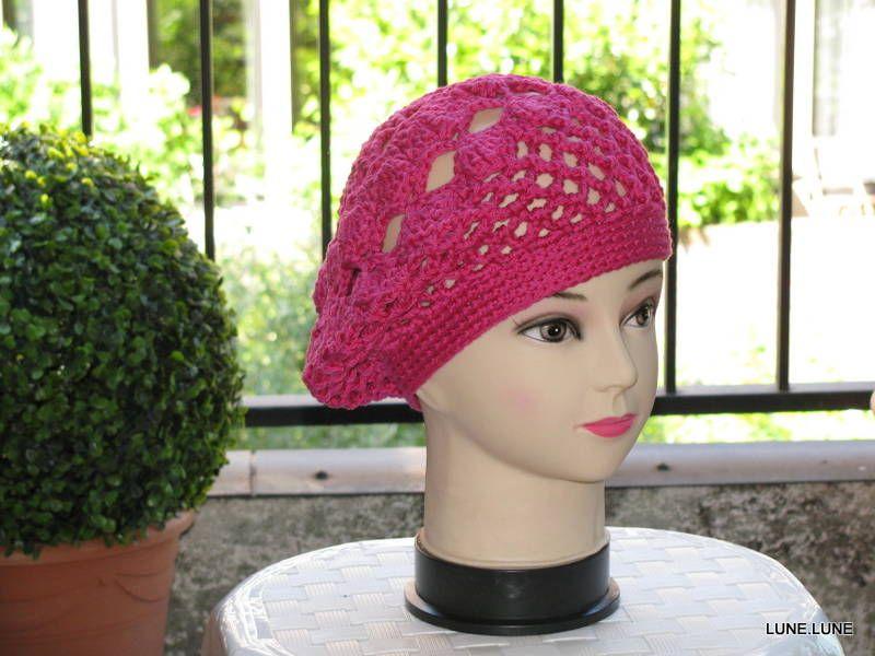 gehaakte zomer baret, roze, te koop , haken, crochet
