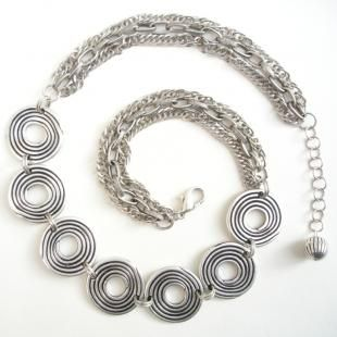 Antique Silver Metal Necklace with Seven Discs