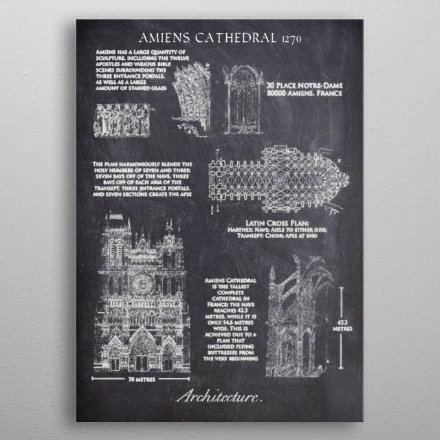 The Cathedral Basilica of Our Lady of Amiens (French: Basilique Cathédrale Notre-Dame d'Amiens), or… | Displate thumbnail