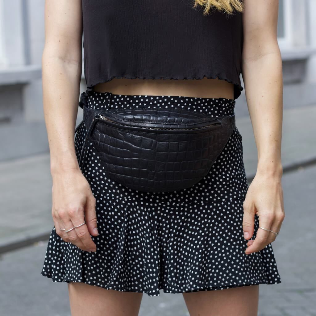 e3bccbd868 luxury small black croco leather women s fanny pack with golden zipper DAPHNY  RAES
