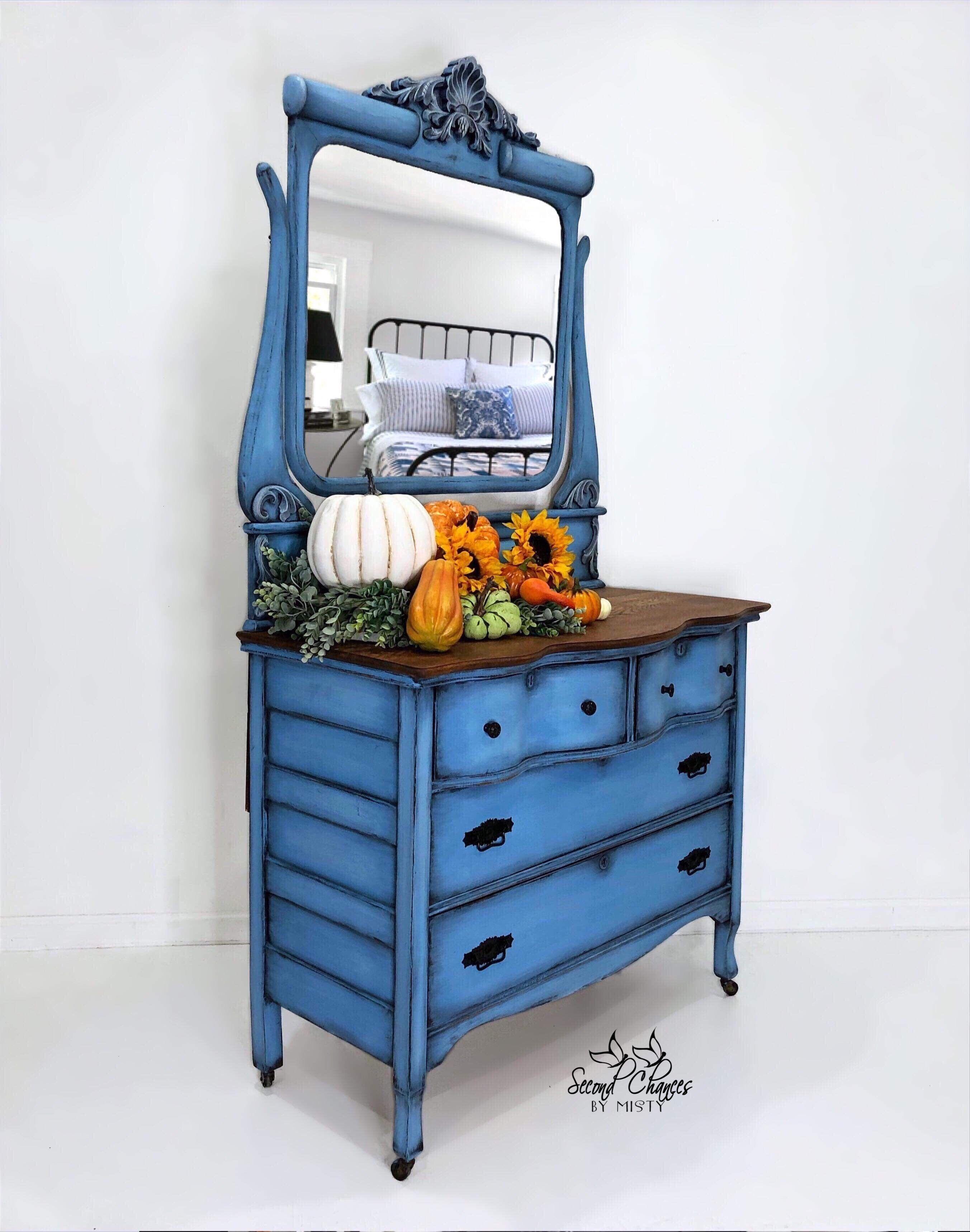 Vintage Dresser Hand Painted Blue Vintage Dressers Furniture Blog Blue Painted Furniture [ 3436 x 2705 Pixel ]