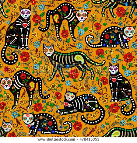 Seamless Pattern With Calavera Sugar Skull Black Cats In Mexican Style For Holiday The Day Of