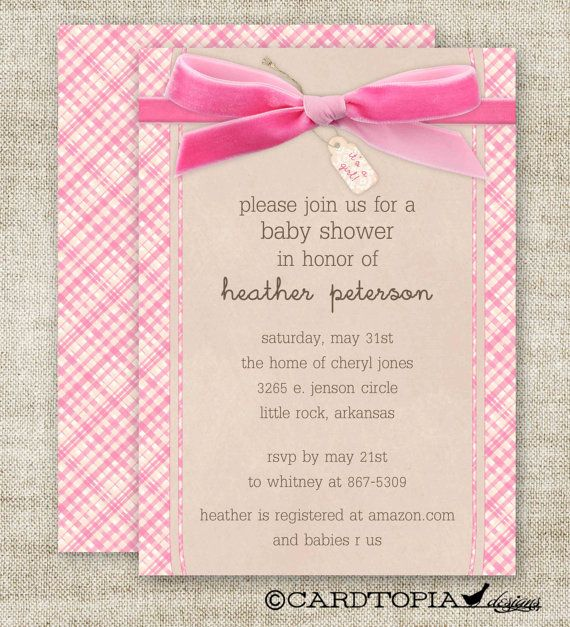 GIRL BABY SHOWER Invitations Plaid Bow Its A by Cardtopia Designs