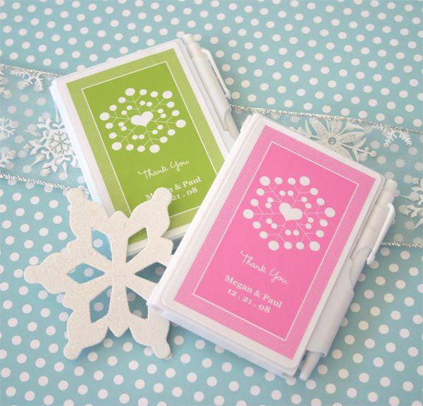 """Snowy Notes"" Winter Wedding Personalized Notebook Favors"