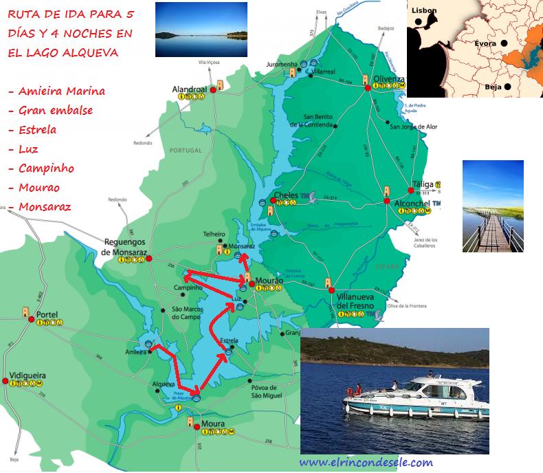 mapa de portugal alqueva Mapa de la ruta por el Grande Lago Alqueva (Alentejo, Portugal  mapa de portugal alqueva