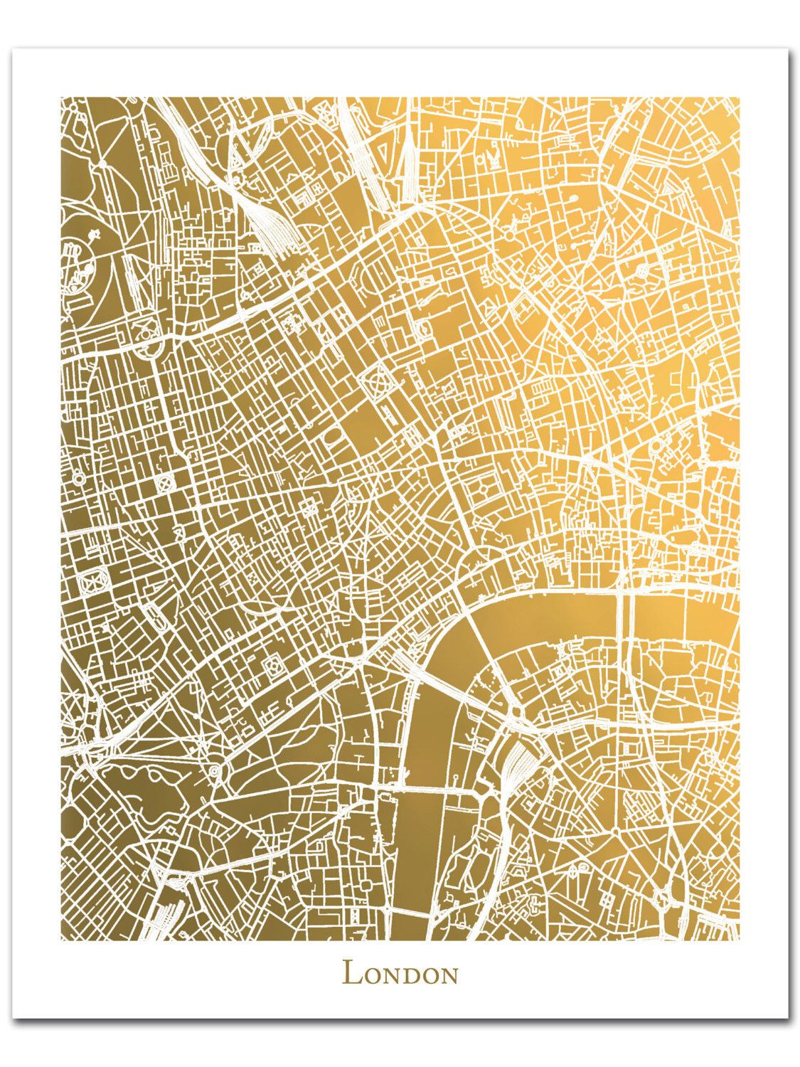 London Map Print, Gold Foil Map™, Gold Wall Decor, Gold Foil Print ...
