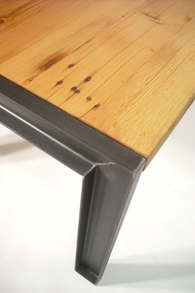 Reclaimed Douglas Fir And Steel Table, Douglas Fir Furniture
