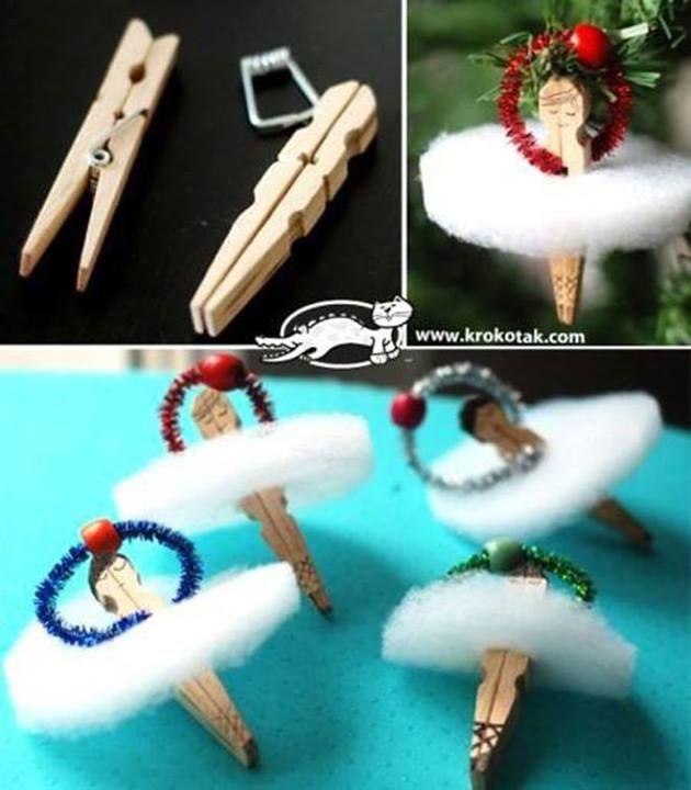 Feder Deko Weihnachten: Clothespin Ballerina Ornament
