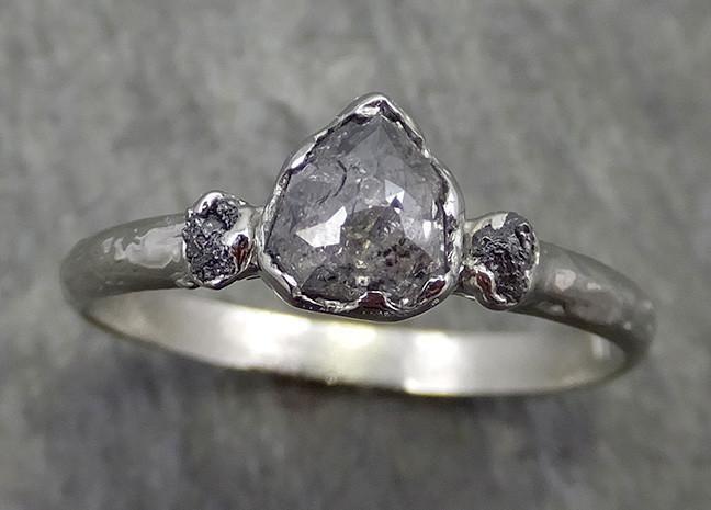 Faceted Salt And Pepper Diamond Engagement 18k White Gold Multi