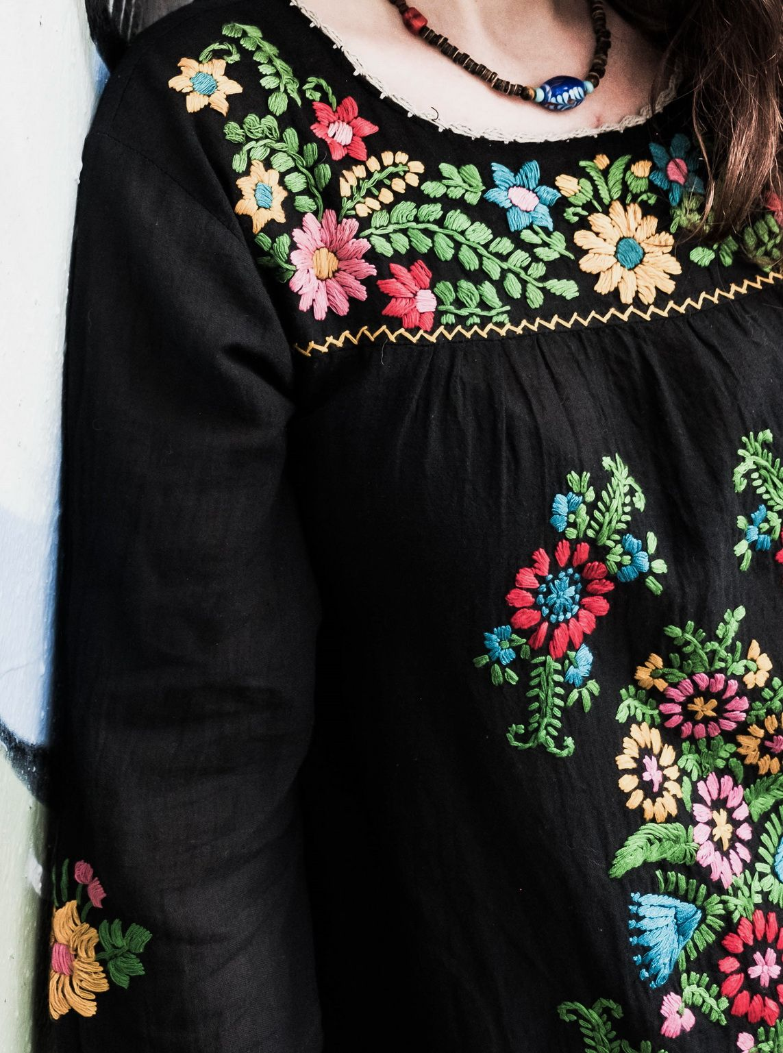 Details Of The Hand Embroidery Of The Midnight Blossom Shirt This