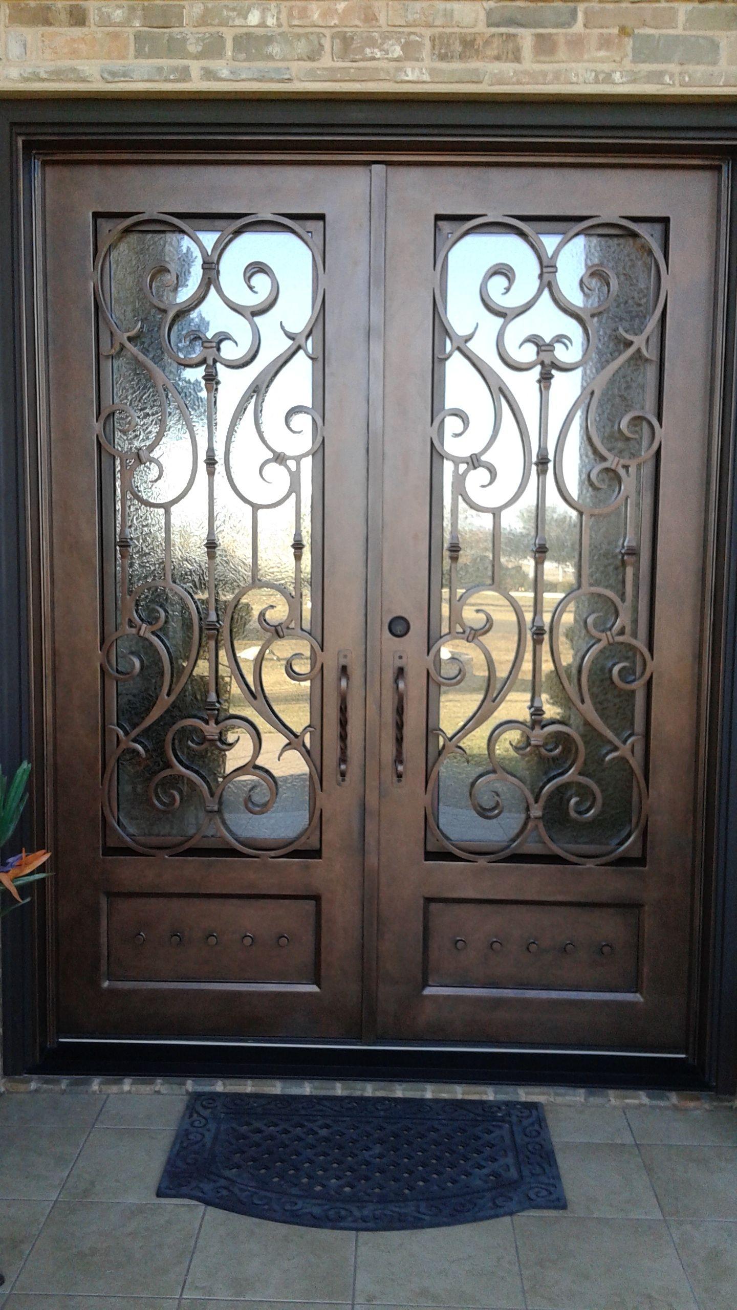 Custom Wrought Iron Double Door Aaleadedglass Com Wrought Iron