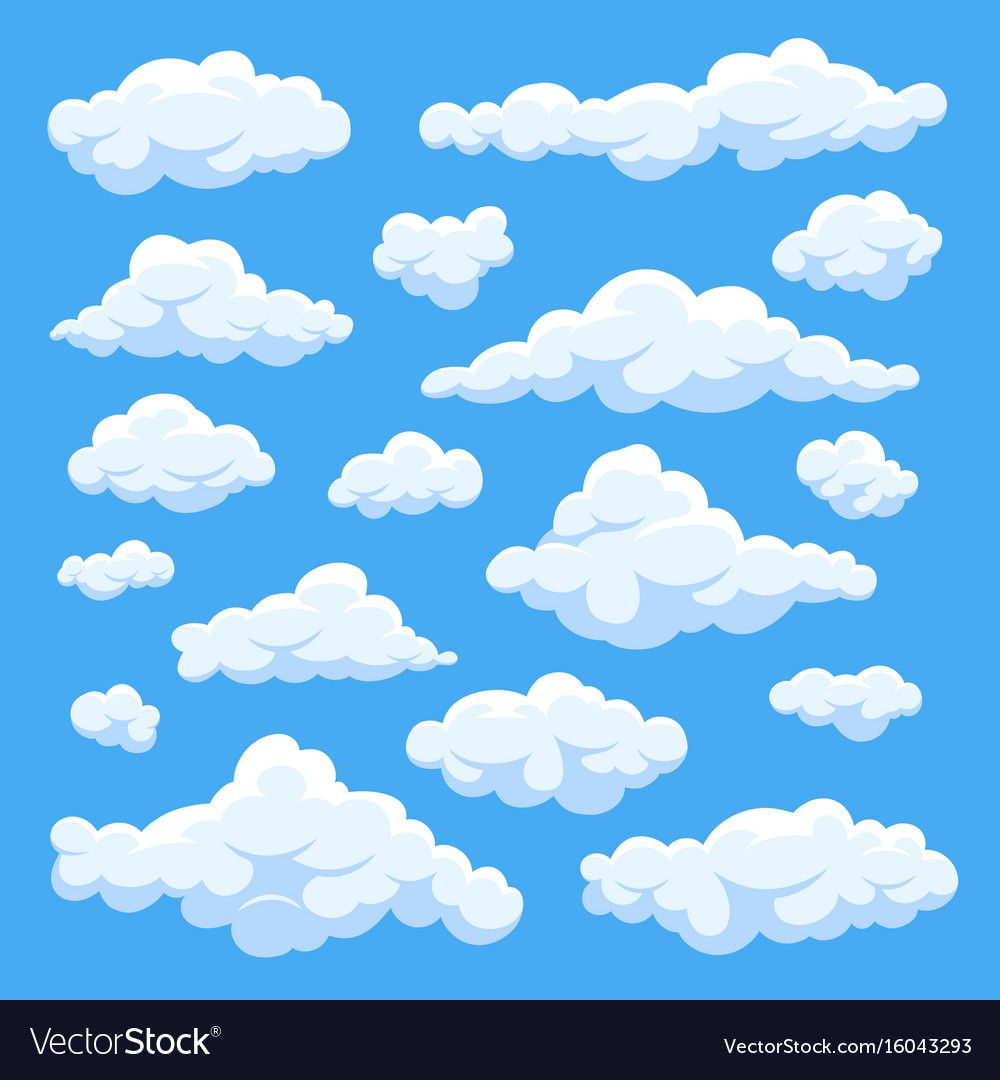 Fluffy White Cartoon Clouds In Blue Sky Set Vector Image On Vectorstock Cartoon Clouds Cloud Painting Cloud Drawing