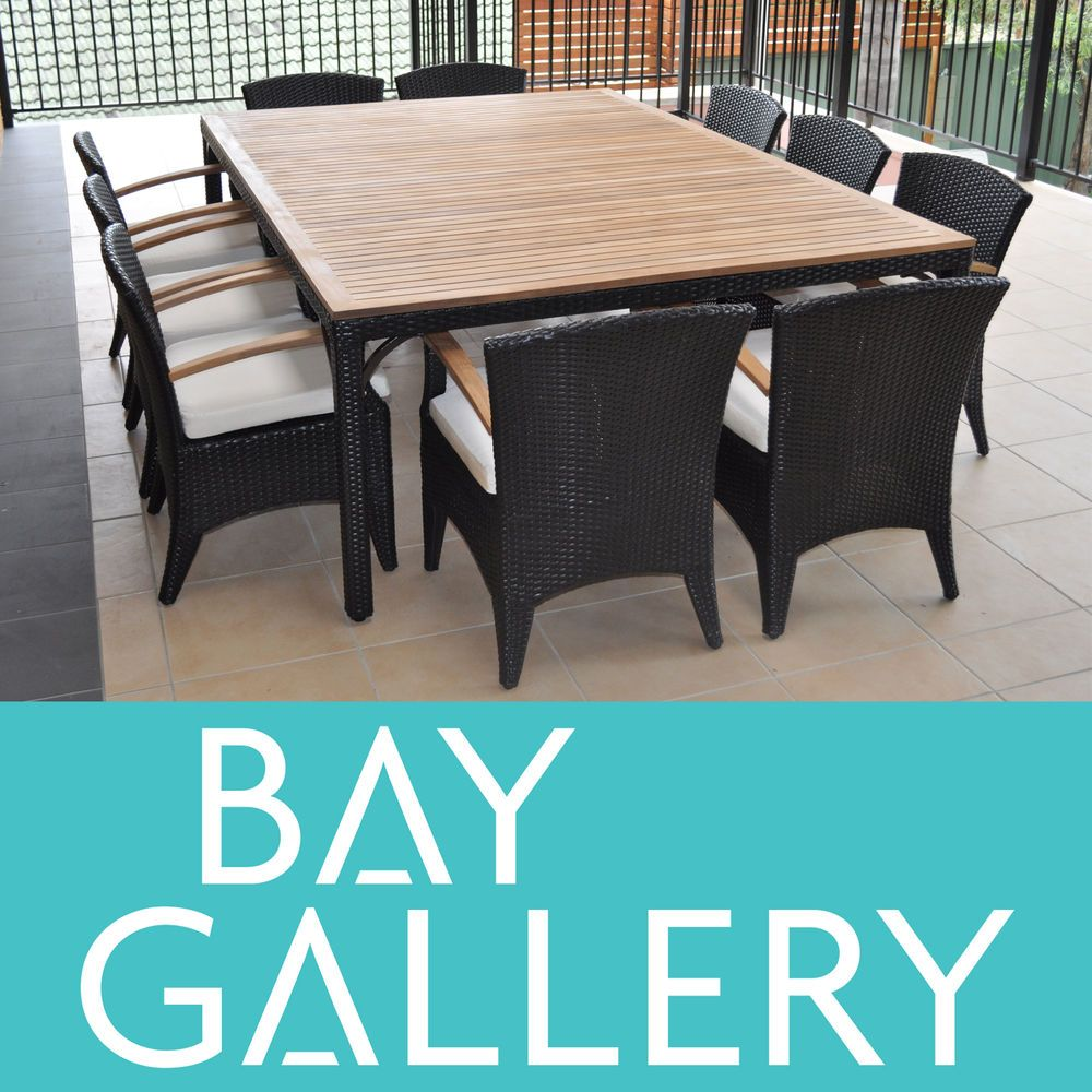 New Outdoor Wicker 10 Seater Table Chairs Dining Teak Timber Furniture Setting Outdoor Wicker Timber Furniture Outdoor Furniture Sets