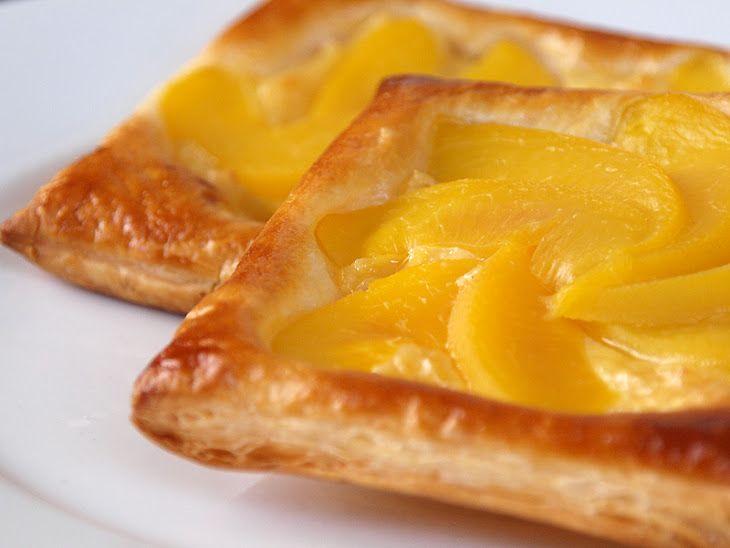 Peach And Custard Danish Pastry Recipe Yummly Recipe Danish Pastry Peach Puff Pastry Pastry Recipes