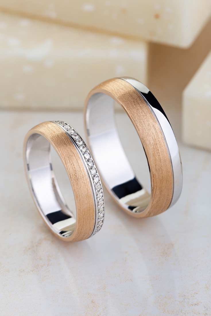 Mixed Metals Matching Wedding Bands Made Of 14k Gold Wedding Etsy In 2020 Wedding Rings Unique White Gold Engagement Rings Vintage Couple Wedding Rings