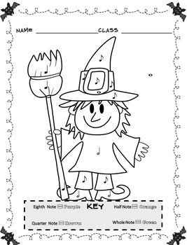 Music Coloring Sheets Halloween Color By Note Halloween Music Activities Halloween Music Music Coloring Sheets