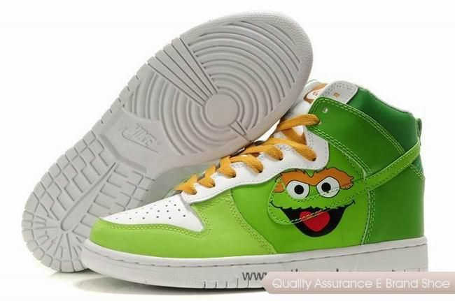 4b3da01009eb Nike Dunk SB 2012 New High Cut Mens Shoes Oscar the Grouch green white  yellow